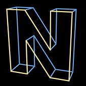 glowing letter N isolated on black background