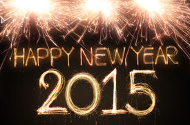 image of sparking  - Happy new year 2015 written with Sparkling figures - JPG