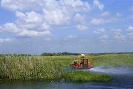 image of airboat  - Air boat in Everglades Florida Big Cypress National Preserve - JPG