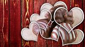 Chocolate Pralines On Wood