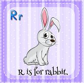 Illustration of a letter R is for rabbit