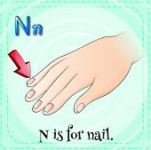 Illustration of a letter N is for nail