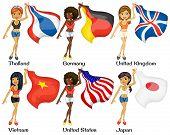 Illustration of women holding flags