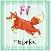 Illustration of a letter F is for fox
