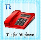 Illustration of a letter T is for telephone
