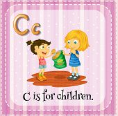 Illustration of a letter C is for children