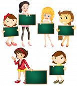 Illustration of girls holding chalkboards
