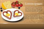 Scrambled Eggs With Sausage In A Heart Shape On A White Plate, Decoration Cheese, Olives And Cherry