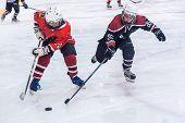 Game of children ice-hockey teams