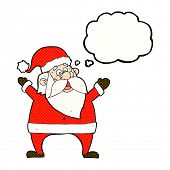 jolly santa cartoon with thought bubble