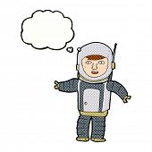 cartoon astronaut with thought bubble