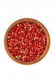 Cowberry In A Ceramic Bowl - Isolated On White