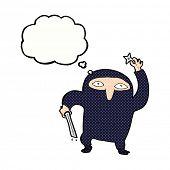 cartoon ninja with thought bubble