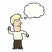 cartoon man making peace sign with thought bubble