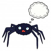 cartoon spider with thought bubble