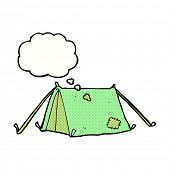 cartoon traditional tent with thought bubble