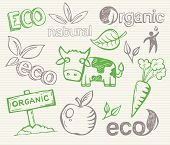 Eco Doodles - hand-drawn pictures that can be used to illustrate ecological topics or organic farming and healthy food.