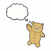 cartoon cute teddy bear with thought bubble