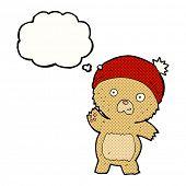 cute cartoon teddy bear with thought bubble