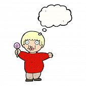 image of obesity children  - cartoon fat child with thought bubble - JPG