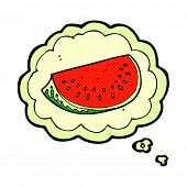 cartoon watermelon slice with thought bubble