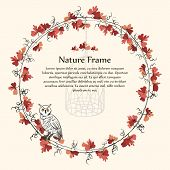 Nature autumn brown leaf vine frame and owl.