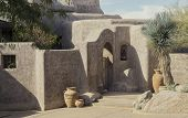 Example of modern Adobe stucco desert architecture landscaping