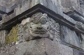 Spirit Face Made Of Stone As A Block In A Wall Of A Hindu Temple