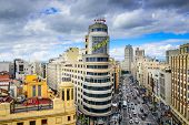MADRID, SPAIN - OCTOBER 15, 2014: Gran Via at the Iconic Schweppes sign. The street is the main shopping district of Madrid.