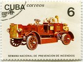 CUBA, CIRCA 1977: Postage Stamp printed in Cuba shows a Safety Vehicle Fire Truck