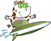 Surfing Cash Cow Vector Illustration Art