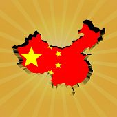 China sunburst map with flag illustration