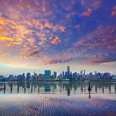 Manhattan New York skyline at sunset from East River dusk USA