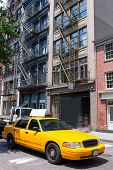 New York Soho buildings yellow cab taxi of Manhattan New York City NYC USA
