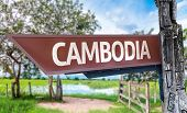 Cambodia wooden sign with rural background