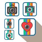 Set Of Flat Photo Camera Sign Icons