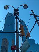 Street Lights In Columbus Circle, New York
