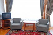 stock photo of motel  - two chairs in the suite room at motel - JPG