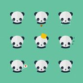 image of panda  - Panda vector set of icons in flat design - JPG