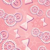 Seamless Pattern Of Pink Hourglass And Gears