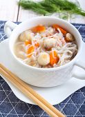 Noodle And Mushroom Soup