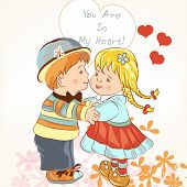 Beautiful Valentine's Day Card  With Couple Of Girl And Boy Holding Hands And Kiss