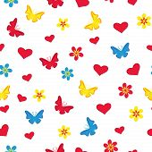 Seamless Pattern With Hearts, Butterflies And Flowers