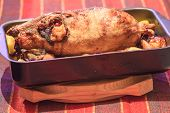 Appetizing homemade duck at baking tray