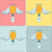 Icon Set light bulb lamp as emblem or logo, vector illustration