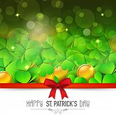 Beautiful greeting card design with gold coins and shiny shamrock leaves tied by red ribbon for Happy St. Patrick's Day celebration.
