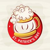 Red rubber stamp with beer mug for Happy St. Patrick's Day celebration.