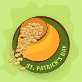 Happy St. Patrick's Day celebration sticker, tag or label design with gold coins coming out from earthenware on green background.