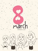 International Women's Day celebration with four cartoon of young girls in different pose.