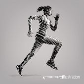 Running woman. Vector artwork in the style of ink drawing